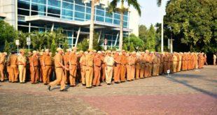 ASN Pemerintah Kota Bekasi ikuti apel pagi, Senin (15/7/2019). FOTO: Istimewa/ Fakta Bekasi.